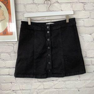 Mudd black denim button front Aline skirt